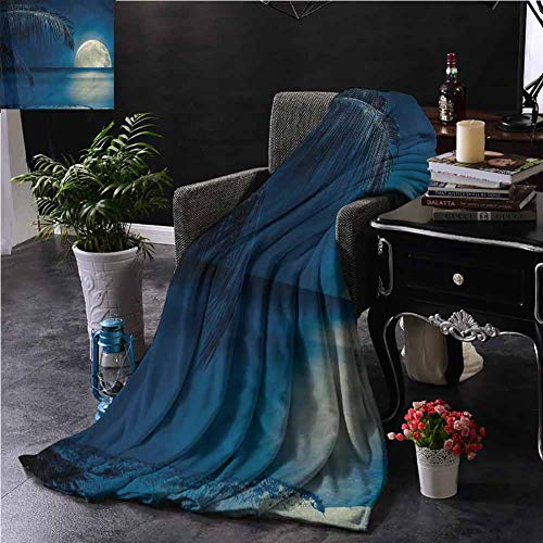EDZEL Best Blankets Ocean Moon Reflection on Calm Water for Bed Couch Chair 84x70 Inch
