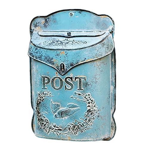 HWF Briefkasten Rustikal Postfach An der Wand montiert, Jahrgang Gusseisen Postbriefkasten, Außen hängendes Dekor für Haus/Veranda/Haustür, 27,5 x 9 x 39,5 cm, Blau