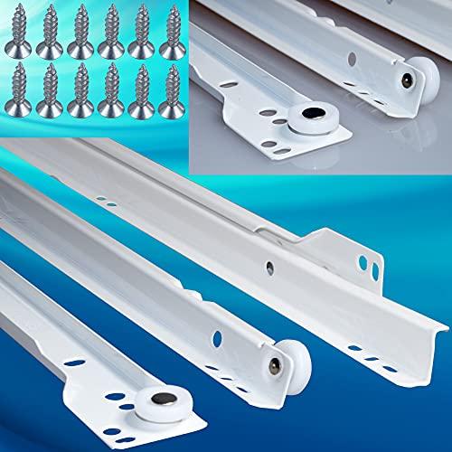 1 Paar SCHUBLADENSCHIENEN Schubladenauszug Rollenführung Schienen Teilauszug WEIß 500 mm