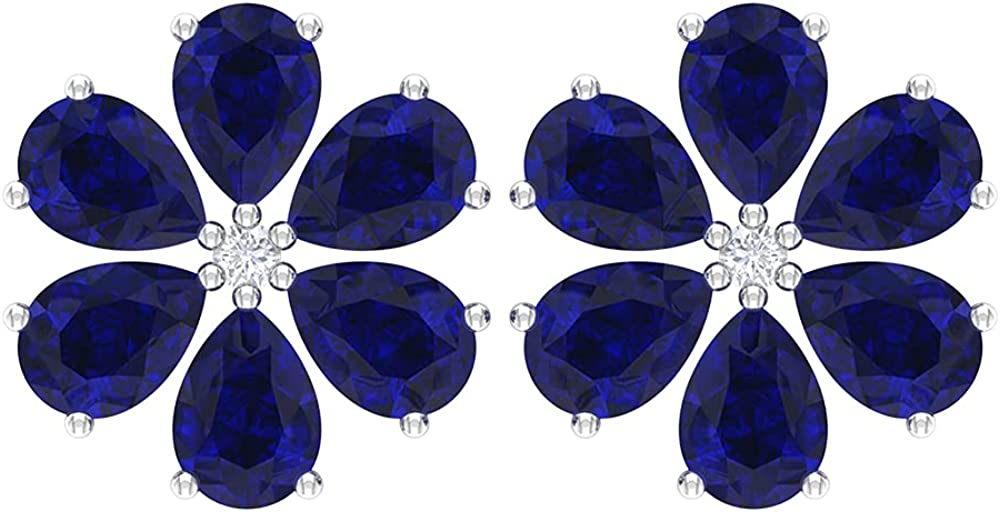 1.75 CT Lab Created Blue Sapphire and Diamond Stud Earrings, Statement Floral Earrings, Screw back
