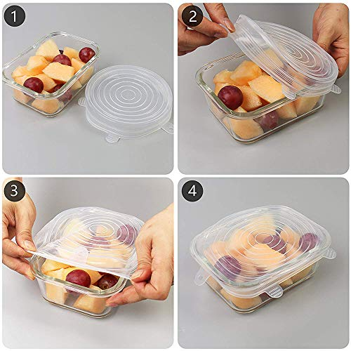 12 Pack Silicone Stretch Lids: Reusable, Stretchable, Durable Covers For Food, Lid Wraps Bowl, Plate, Pot, Pan, And Container, Microwave Safe Cover Bowls Ultimate Splatter Guard