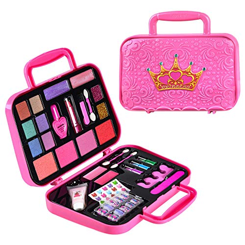 Toysical Kids Makeup Kit for Girl - with Make Up Remover - 30Pc Real Washable, Non Toxic Play Princess Cosmetic Set - Ideal Birthday for Little Girls Ages 3, 4, 5, 6 Year Old Child