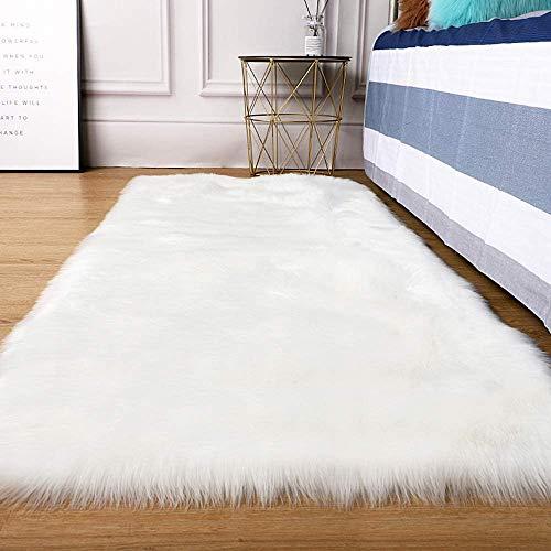 Teppich aus Kunstfell, Schaffell, Bettvorleger 60 x 150 cm, weiß, quadratischer Teppich Shaggy Sitzsack für Schlafzimmer, Sofa, Boden, Wohnzimmer, Kinderzimmer, Sofa, Stuhl (60 x 150 cm)