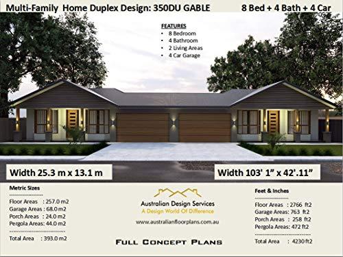 Multi Family Duplex House Plans for 2 Family - 8 Bedroom 4 Bathroom 4 Car Garage : Concept plans includes detailed floor plan and elevation plans (English Edition) eBook: morris, chris, Designs, Australian: Amazon.es: Tienda Kindle