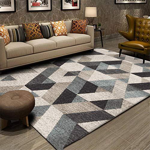 WJTHH vloerkleed, laagpolig tapijt, hoogwaardig tapijt, geometrisch bedrukt tapijt, zacht handvat, antislip, wasbaar groot tapijt