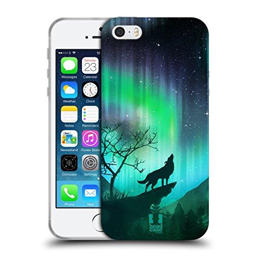 Head Case Designs Loup Fou Aurore Boréale Coque en Gel Doux Compatible avec Apple iPhone 5 / iPhone 5s / iPhone Se 2016