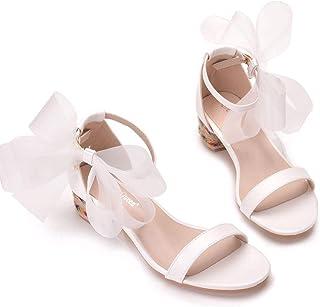 Women's Bridal Shoes,Women's Court Shoes,4cm temperament white bow shallow heel sandals Wedding shoes Mary Jane Pumps,Clubbing Evening Wedding Party Dress Big Sizes Bridesmaid shoes,39 EU