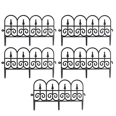 24in X10ft Decorative Garden Fence plastic textured ,Decorative Garden Border Edging Fence Panels In Imitation iron -Garden Folding Fencing Panel Border Edge Section For Yard Garden Decor (5 Pcs )