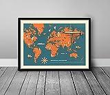 MG global - Deutsche Lufthansa : Deutsche Demokratische Republik 1962, Mapa de bolsillo, Die Wichtigsten Flugstrecken Der Deutschen - Mapa Antiguo Mundial