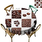 Kamadaole Coffee Table Decoration Coffee with Roasted Beans Concept Collage Hearts Stars Espresso Latte Mugs Aroma Desktop Decorative Round Tablecloth 60Inch.Round Tablecloth Brown White