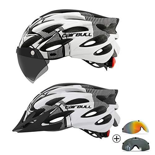 Casco de Bicicleta de Ciclismo para Adultos con LED y Dos Juegos de Gafas Luz Trasera Visera extraíble Hombres Mujeres Bicicleta Adultos para Montar