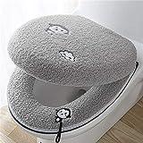 zeenca Cojín para asiento de inodoro, Asientos de inodoro adecuado para la mayoría de los inodoros de la familia O-UCremallera gris