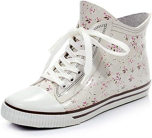 MLENR Floral Fashion Wasserdichte Schuhe Damen Damen Damen Regenstiefel Rutschfeste Schuhe Gummi Die Schnürung Design Regenstiefel (Farbe   Weiß, Größe   39)  Online-Shop