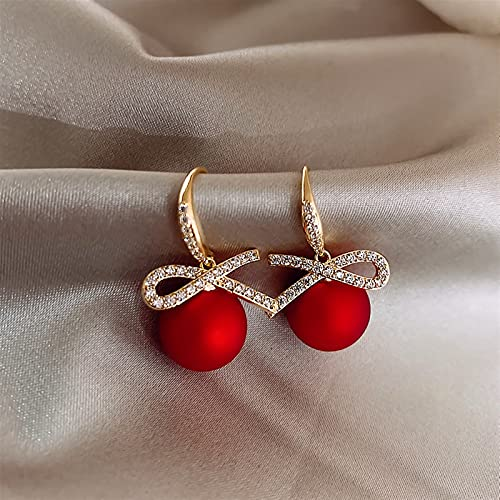 JKLJKL 1 Pare Red Pearl Rhinestone Pendientes Femeninos Trend Pendientes Vintage (Metal Color : E659)