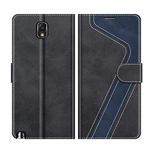 MOBESV Handyhülle für Samsung Galaxy Note 3 Hülle Leder, Samsung Galaxy Note 3 Klapphülle Handytasche Hülle für Samsung Galaxy Note 3 Handy Hüllen, Modisch Schwarz