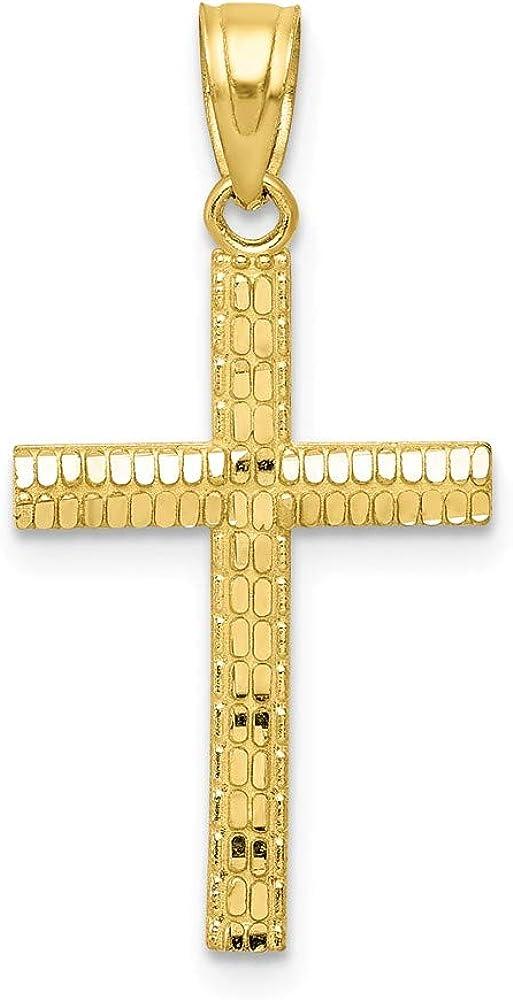 10K Yellow Gold Deluxe Cross Shiny-Cut Ranking TOP8 Pendant