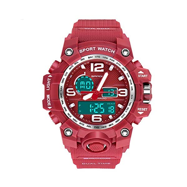 Women's Digital Sports Watch, Dual-Display Waterproof Wrist Watch with Alarm and Stopwatch