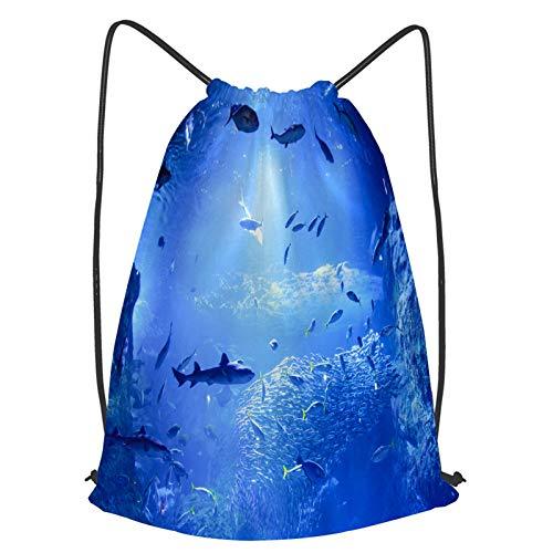 fudin Unisex Wasserdicht Kordelzug Rucksack Japan Aquarium Enoshima Turnbeutel Sporttasche für Yoga Freien Schule Strand Schwimmen