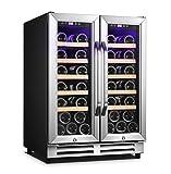 Karcassin 24 inch Wine Cooler Refrigerator – Compressor Wine Chiller – Dual Temp Zones wine fridge – Stores upto 36 Bottles