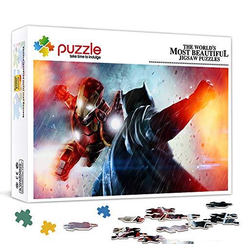 Rompecabezas para adultos 500 piezas Iron Man Vs Batman Superhéroes en películas Rompecabezas de juguete Juegos familiares Regalos para familiares o amigos 52X38Cm / 20.5X14.5 pulgadas