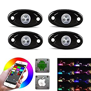 LED Rock Light Kits with 4 Pods RGB Lights for Offroad, Crawling, Climbing Waterproof, SoundSync, Bluetooth App Controls Lamp Waterproof (4 pods)