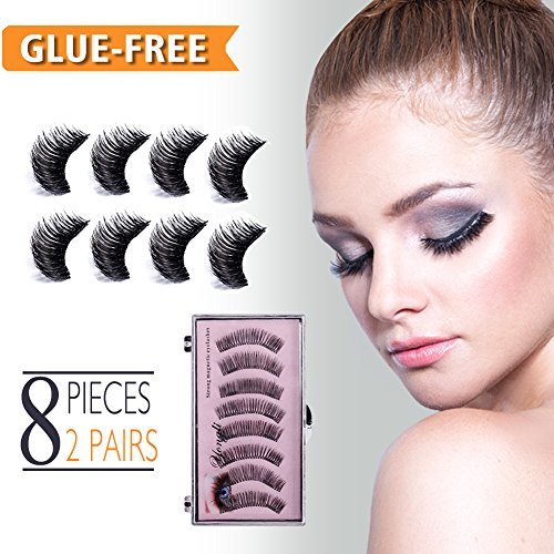 Magnetic False Eyelashes No Glue Fake Eyelashes Extensions 3D Reusable Natural Look, 8 Pieces Mink Lashes Set with Beautiful Case, Dual Magnets, for Deep Eyes Round Eyes, Ultra Lightweight & Long