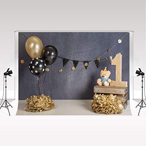Kate 1. Geburtstag Hintergrund 2,2x1,5m Baby Boy Gold und Schwarze Luftballons Grauer Fotohintergrund Teddybär Spielzeug Hintergrund Papier für Neugeborene Geburtstag Porträt Fotoshooting