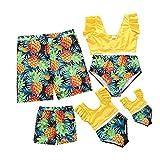 Matching Family Swimsuits Family Matching Swimwear Two Piece Bikini Newest Printed Ruffles Mom and Me Matching Bathing Suits (Yellow-Men, XXL)