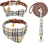 WOOVAN Bow Tie Dog Collar and Leash Set,Classic Plaid Puppy Collar,Adjustable Soft Leather Small Dog Collar and Dog Bandana with Removable Bell,Cute Dog Collar for Puppy Cats 3 PCS