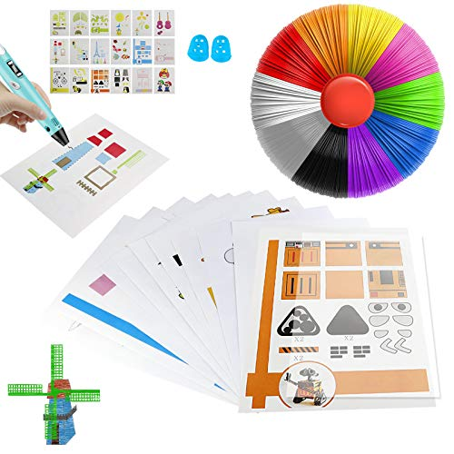 ZTTXL 3D Pen Mat,20 Sheets Printer Drawing Molds Paper Stencils for 3D Printing Pen, 40 Patterns and a Clear Plate Set and10 PLA Filament Colors