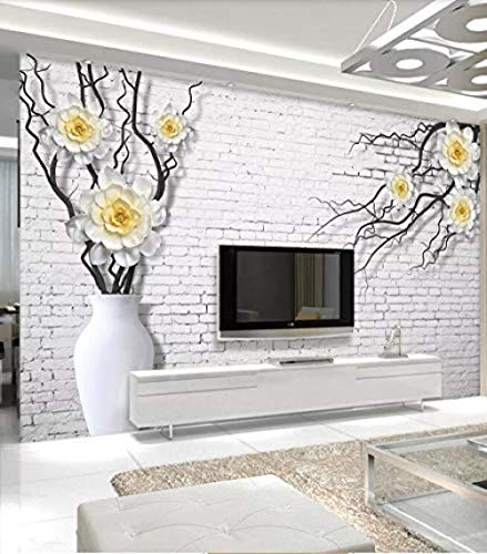 Stickers Artwork Witte vaas met drie takken van witte bloemen van gele pioen 3D Wall Background- Wallpaper Grey Wall Sticker Border zelfklevende baksteen badkamer zilver slaapkamer rand (W)200cm×(h)140cm
