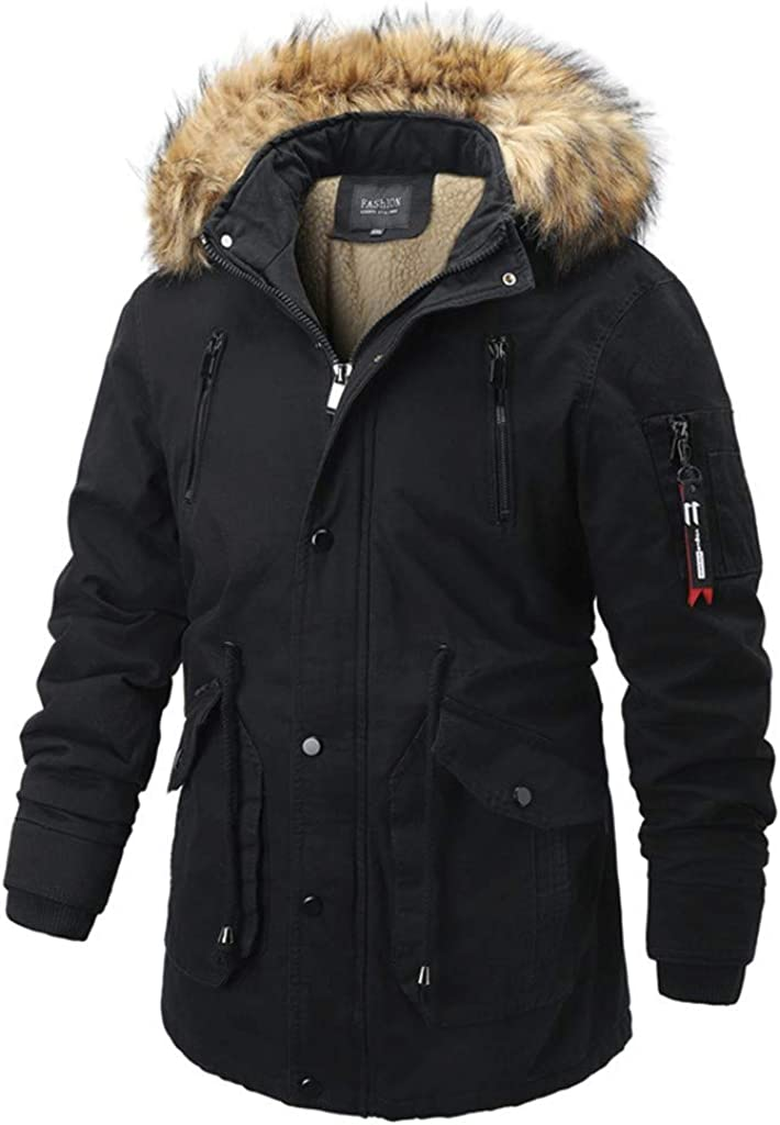 FORUU Men's Coat Winter Sale,Casual Comfy Fashion Plus Size Warm Simple Thicker Cotton Coats Jacket with Hooded Pocket