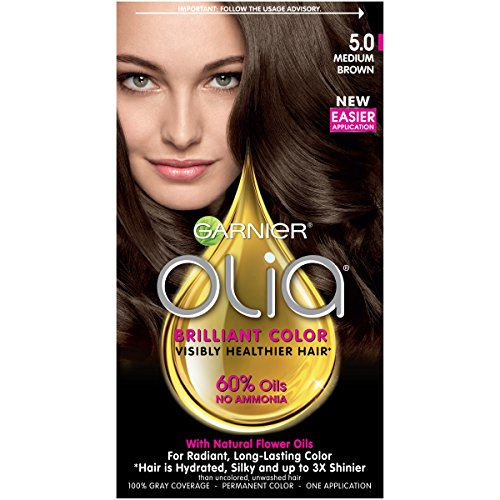 Garnier Olia Ammonia Free Permanent Hair Color, 100 Percent Gray Coverage (Packaging May Vary), 5.0 Medium Brown Hair Dye, Pack of 1