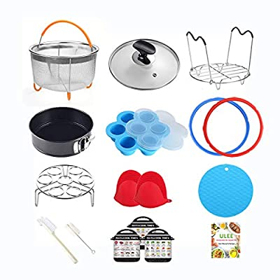 8 Quart Pressure Cooker Accessories Compatible with Instant Pot 8 Qt Only - Steamer Basket, Glass Lid, Silicone Sealing Rings, Egg Bites Mold, Springform Pan, Egg Steamer Rack and More