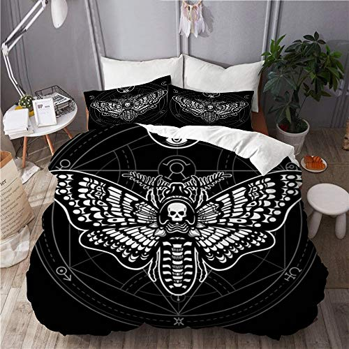BEITUOLA bedding - Duvet Cover Set,Black Skull Moth Dead Head Mystical Circle Esoteric Wildlife Cult Occult Alchemy Ancient Animation,Microfibre Duvet Cover Set 135 X 200cm with 2 Pillowcase 50 X 80cm
