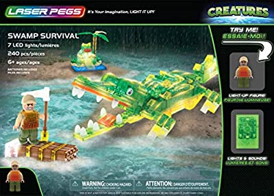 Laser Pegs Creatures (Water) Light-Up Building Block Playset, The First Lighted Construction Toy to Ignite Your Child's Creativity; It's Your Imagination, Light It Up