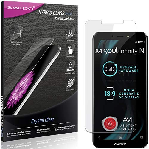 SWIDO Panzerglas Schutzfolie kompatibel mit Allview X4 Soul Infinity N Bildschirmschutz-Folie & Glas = biegsames HYBRIDGLAS, splitterfrei, Anti-Fingerprint KLAR - HD-Clear