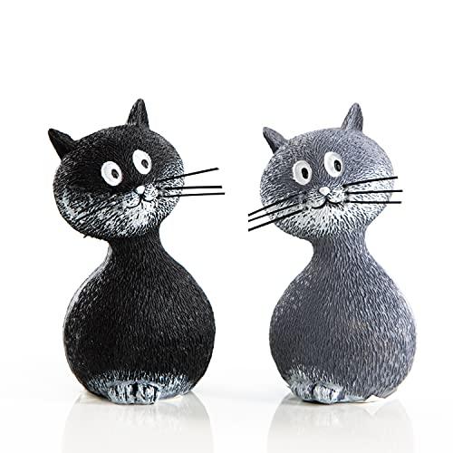 Logbuch-Verlag 2 kleine Katzen Figuren grau + schwarz 9 cm - Tierfiguren zum Hinstellen - Katzenfiguren als Deko Kinderzimmer