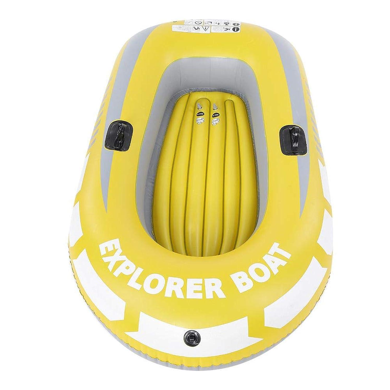 辞任する死ピクニックをするエアー インフレータブルクッション 空気入れ カヤック カヌー PVC材料 軽量 気密性 耐摩耗性 膨張収縮容易 2人用 釣り/漂流/ダイビング イェロー