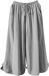 Minibee Women's Linen Pants Drawstring Waist Wide Leg Trousers with Frog Button