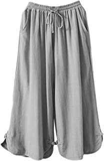 Women's Linen Pants Drawstring Waist Wide Leg Trousers with Frog Button