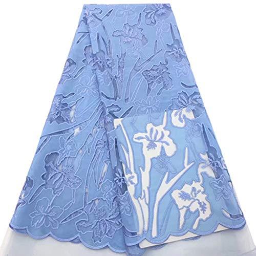Guipure Cordón de encaje con flor 3D bordado de moda africana tela de encaje para boda fiesta, sintético, azul, 10 años
