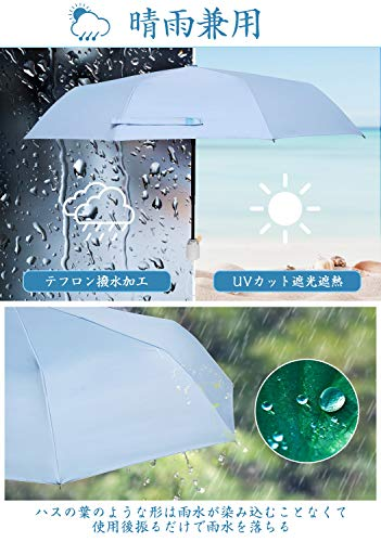 [Amazonブランド]Eono(イオーノ)日傘折りたたみ傘ワンタッチ自動開閉99.9%UVカット遮光遮熱晴雨兼用紫外線遮断日焼け止め対策耐風超撥水超軽量コンパクト小型メンズレディース持ち運びやすい収納ポーチ付き(ブルー)