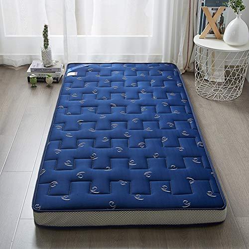 LXYCD Acolchado Equipadas Colchón Reversible,Respirable Solicitud Mal Tatami Moquetas,Dormitorio Espesar Estera para Dormir Topper Punto Colchón De Futón-Azul 90x190cm(35x75inch)