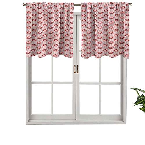 Hiiiman Cortinas cortas opacas con bolsillo para barra, diseño de flores románticas de primavera en estilo de enrejado ondulado, juego de 1, 137 x 45 cm, tamaño pequeño de media ventana para cocina