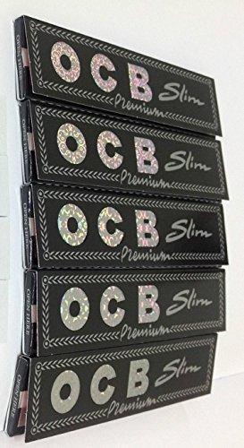 5 feuilles de papier à rouler ocb Noir Slim King Size avec 5 filtres en carton ocb perforés Special Deal par Trendz