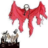 ハロウィーンハンギングスカルヘッドゴーストホーンテッドハウスエスケープホラー小道具飾り、曲げることができる腕を持つ怖い死神、ホームテロ怖いためのハロウィーンパーティーの装飾 (赤)