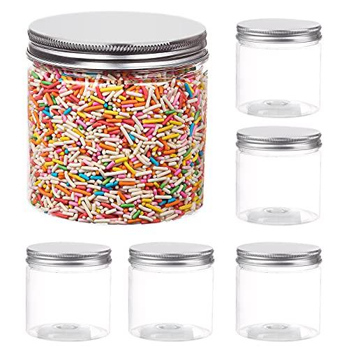 Aitsite 6PCS Botes de Plástico con Tapa Botes de Polietileno Alimentario Tarro Plastico 350ml Transparente Botes Cocina Recipientes Slime Contenedor Alimentos