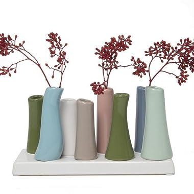 Chive Pooley 2, Unique Rectangle Ceramic Flower Vase, Small Bud Vase, Decorative Floral Vase for Home Decor, Table Top Centerpieces, Arranging Bouquets, Set of 8 Tubes Connected (Cedar Green, Blue)