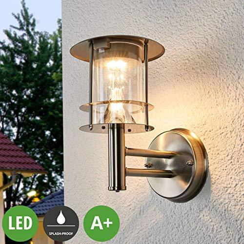 Lampenwelt LED Solarleuchte außen \'Sumaya\' (spritzwassergeschützt) (Modern) in Alu aus Edelstahl (6 flammig, A+, inkl. Leuchtmittel) - Solar-Wandleuchten, Wandlampe für Outdoor & Garten